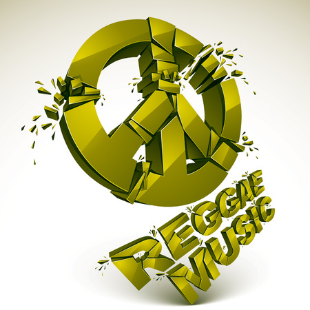 grooves: Green 3d vector peace sign created from refractions isolated on white. Three-dimensional transform design element. Reggae music theme