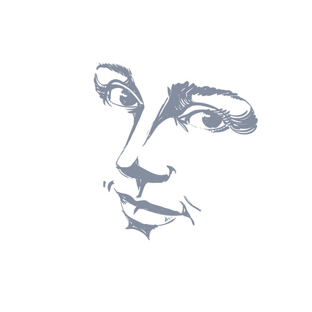 dreamy: Hand-drawn monochrome portrait of delicate good-looking dreamy still woman, black and white vector drawing. Emotional expressions idea image, face features.