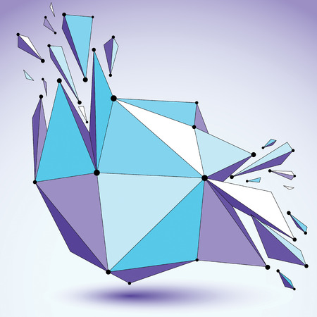 fragmentation: Abstract 3d faceted figure with connected black lines and dots. Vector blue low poly shattered design element with fragments and particles. Explosion effect.