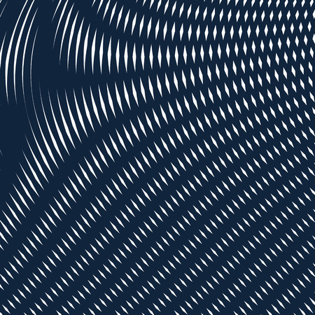 moire: Optical illusion, moire background, abstract lined monochrome vector tiling. Unusual geometric pattern with visual effects. Illustration