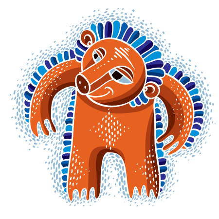 weird: Character monster vector flat illustration, cute orange mutant. Drawing of weird beast, emotional expression. Illustration
