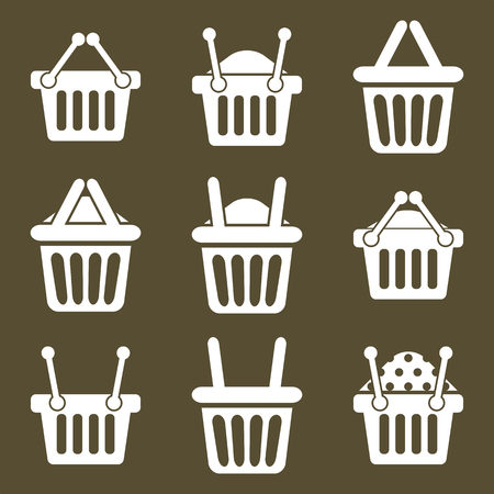 simplistic: Shopping basket icons vector set, supermarket shopping simplistic symbols vector collections.