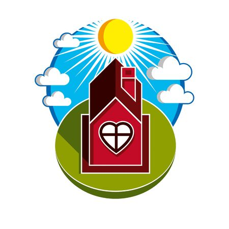 harmony idea: Simple house vector illustration, beautiful fairy picture. Family harmony at home, love and relationship idea. Building facade with heart symbol.