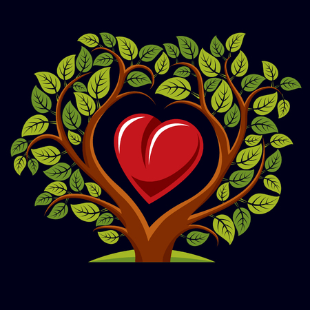 genealogy tree: Vector illustration of tree with branches in the shape of heart with an apple inside, love and motherhood idea image. Tree of life theme illustration. Illustration