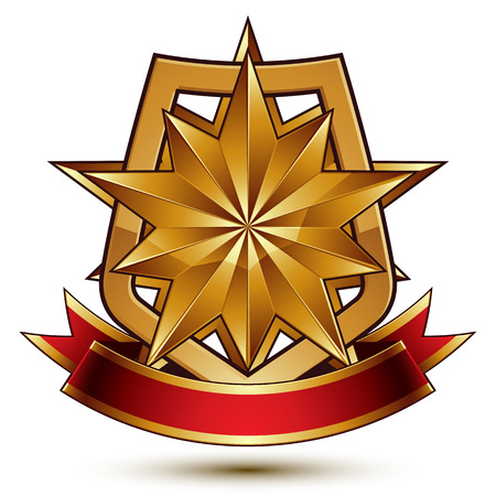 glistening: 3d vector classic royal symbol, sophisticated protection shield with polygonal golden star and red wavy stripe, decorative emblem isolated on white background, dimensional glossy element. Illustration