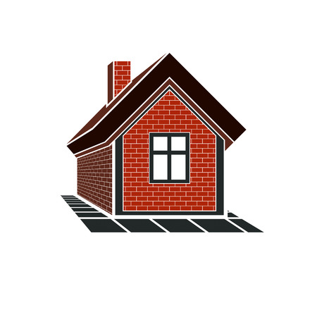 country house: Country house constructed with red bricks, real estate. Creative home vector symbol, can be used in advertising and home insurance business. Illustration