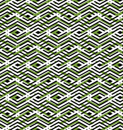 interweave: Green abstract seamless pattern with interweave lines. Vector overlay wallpaper with geometric figures. Endless decorative background. Op art.