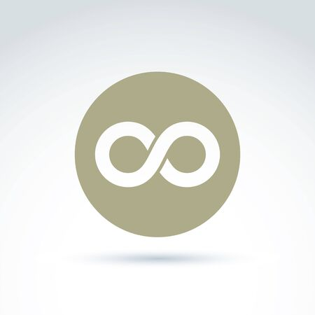 endlessness: Vector infinity icon isolated on white background, illustration of an eternity symbol placed in a circle.