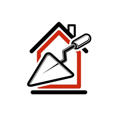 icona spatola classica, costruire materiali. Casa con strumenti di lavoro, intonaci. Inizio ricostruzione idea, riparazione squadra simbolo stilizzato. Vettoriali