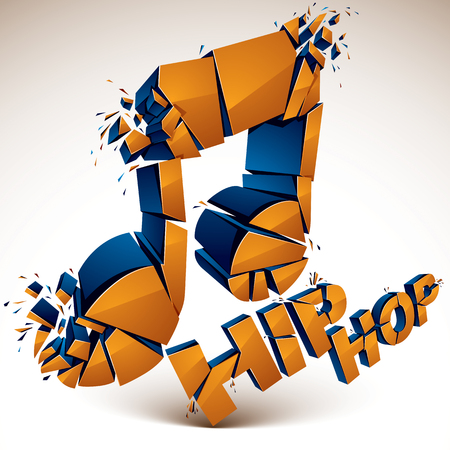 Orange 3d vector shattered musical note with specks and refractions. Dimensional facet design music demolished symbol. Hip hop music theme