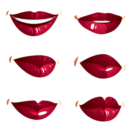 lips close up: Set of vector sexy female red lips expressing different emotions and isolated on white background. Face parts, shiny women lips, design elements.