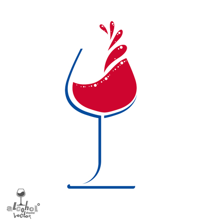 revelry: Beautiful vector wine goblet with splash, alcohol theme illustration. Stylized art wineglass, decorative romantic rendezvous object. Holiday and anniversary graphic element.