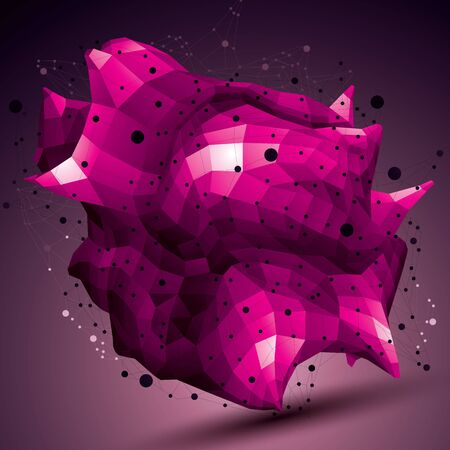 spatial: Spatial vector colorful digital object, purple 3d technology figure with geometric elements and wireframe.
