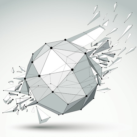 low perspective: 3d vector low poly object with black connected lines and dots, geometric wireframe shape with refractions. Spherical perspective shattered form.