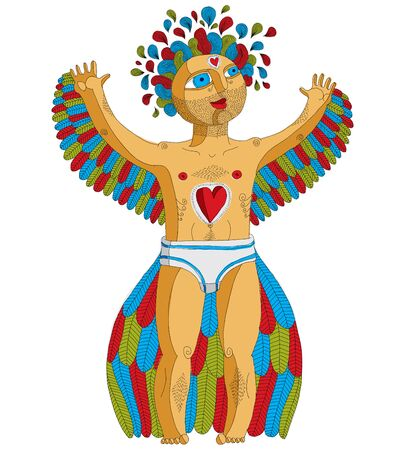 artistic nude: Vector hand drawn graphic illustration of weird creature, cartoon nude man with wings, animal side of human being. Idol concept, artistic allegory drawing.