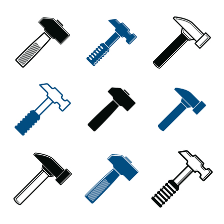 reconstruct: Repair instruments collection, 3d tools, mallets. Construction idea simple vector objects, design elements. Illustration