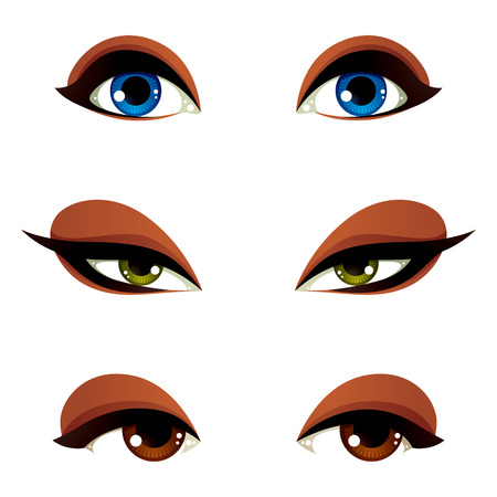 green eye: Vector female eyes in different emotion with blue, brown and green eye iris. Women eyes with stylish makeup isolated on white background. Illustration