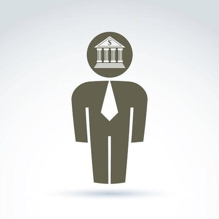 stylized banking: White collar bank worker man icon with bank building, conceptual vector symbol.
