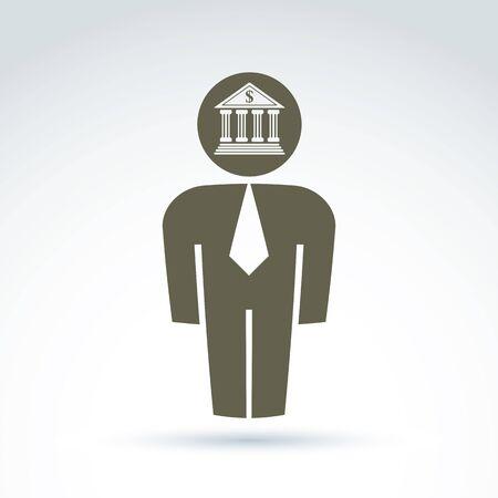 white collar: White collar bank worker man icon with bank building, conceptual vector symbol.