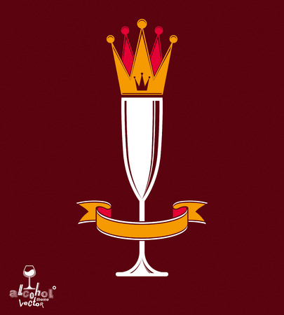 revelry: Champagne glass with beautiful royal crown, sophisticated goblet full with sparkling wine. Queen of the evening conceptual illustration, celebration theme eps8 object. Illustration