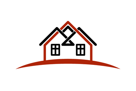 homely: Abstract vector houses with horizon line. Can be used in advertising and branding as a corporate symbol. Real estate business theme. Illustration