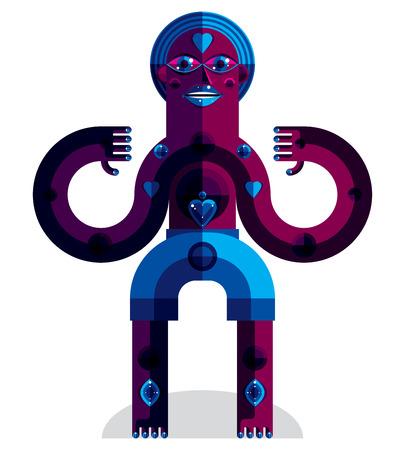 idol: Spiritual totem vector illustration, meditation theme drawing. Anthropomorphic character, mystic idol isolated on white.