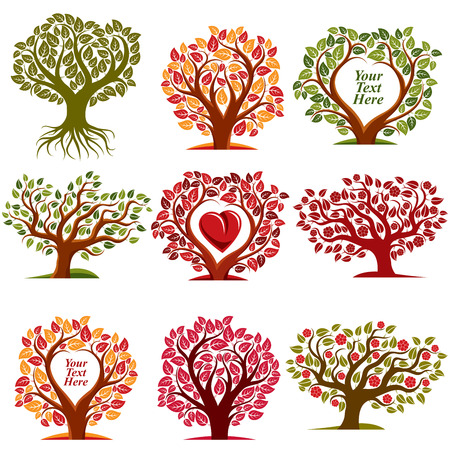 copy space: Vector art drawn trees with beautiful blossom and red heart. Harvest season idea eco symbols with empty copy space for your text, can be used as ecology and environmental conservation concept.