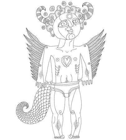 artistic nude: Vector hand drawn black and white graphic illustration of weird creature, cartoon nude man with wings, animal side of human being. Idol concept, artistic allegory drawing.