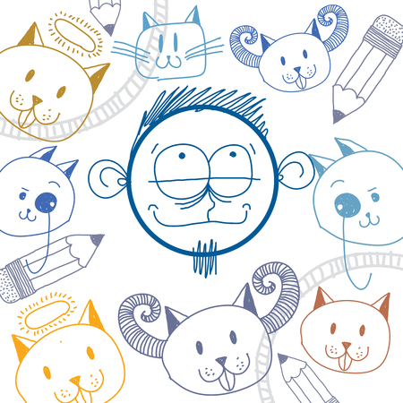temperament: Vector hand drawn cartoon happy dreaming boy. Education theme graphic design elements isolated. Social conversation idea drawing.