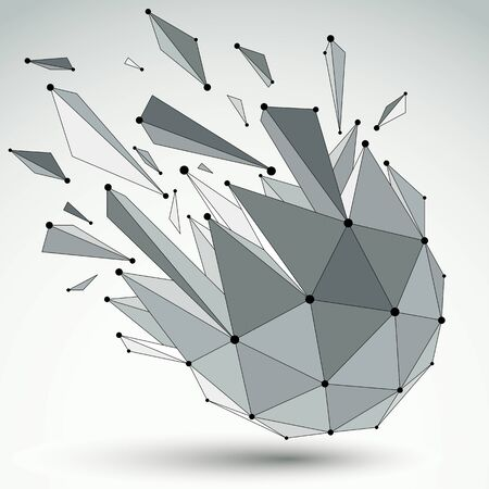 Abstract 3d faceted figure with connected black lines and dots. Vector low poly shattered design element with fragments and particles. Explosion effect. Illustration