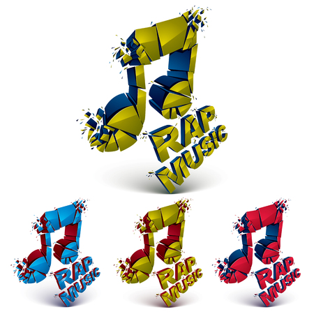 rap music: Set of 3d colorful vector shattered musical notes with specks and refractions. Dimensional facet design music demolished symbols collection. Rap music theme.