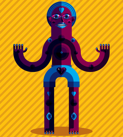 odd: Bizarre creature vector illustration, cubism graphic modern picture. Flat design image of an odd character isolated on artistic striped background. Illustration