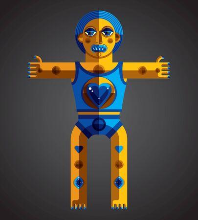 estrella caricatura: ilustraci�n vectorial tema de la meditaci�n, el dibujo de la criatura espeluznante en estilo modernista. �dolo espiritual creado en estilo del cubismo. Modernistic monstruo raro.