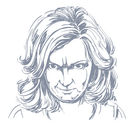 arrogant: Hand-drawn portrait of white-skin arrogant woman with wrinkles on her forehead, face emotions theme illustration. Angry lady posing on white background.