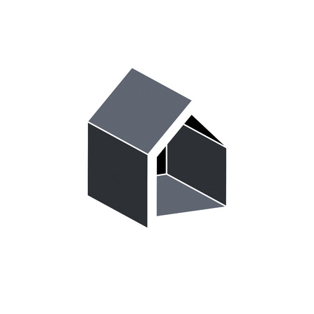depiction: Property developer conceptual business vector icon. Building modeling and engineering projects abstract symbol. Simple house depiction.