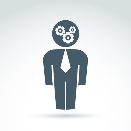 white collar: White collar team worker man icon with gears system, conceptual vector symbol.