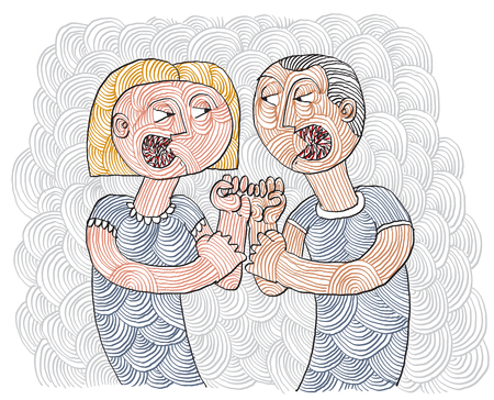 Litigio tra uomo e donna concettuale disegnati a mano illustrazione righe. Dispute metafora, combattere tra marito e moglie.