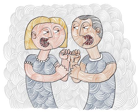 dispute: Quarrel between man and woman conceptual hand-drawn stripy illustration.  Dispute metaphor, fight between husband and wife.