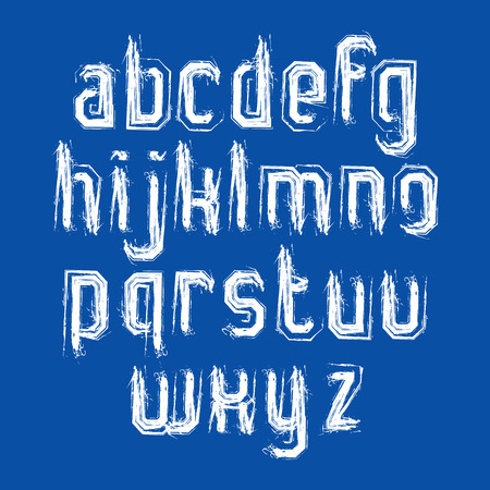 verb: Vector stylish brush lowercase letters, handwritten font, white typeset on blue background.