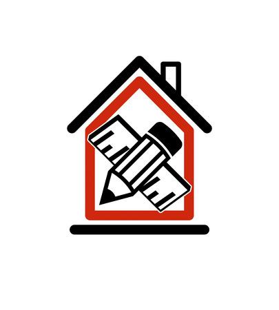 Architectonisch ontwerpen conceptuele symbool, eenvoudig vector huis pictogram met bewerken potlood en meten lijn. Ontwerp bouw en ingenieur grafisch element.