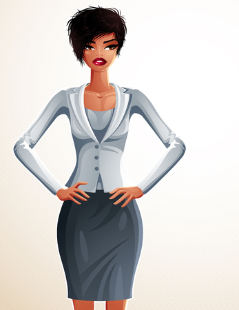 fullbody: Beautiful coquette business lady illustration, full body portrait of a sexy slim brunette holding her hands on a waist. People expression of a young pretty woman.