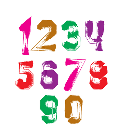 number background: Handwritten contemporary vector digit set, doddle hand-painted smear numerals. Illustration