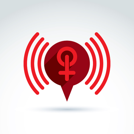 sex symbol: Speech bubble with a red female sign, female gender symbol. Lesbian or woman club conceptual icon – chat on a relationship theme, podcast icon. Illustration