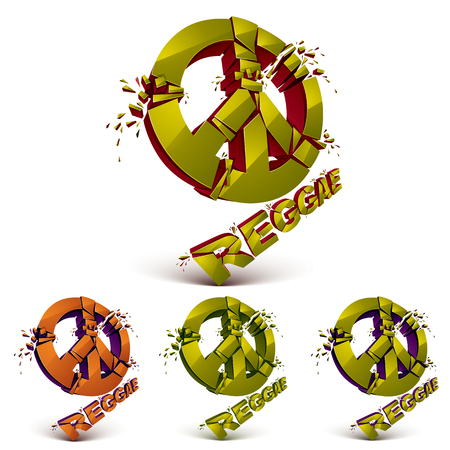 refractions: Green and orange 3d vector peace signs collection created from refractions isolated on white. Set of reggae music theme three-dimensional transform design elements.