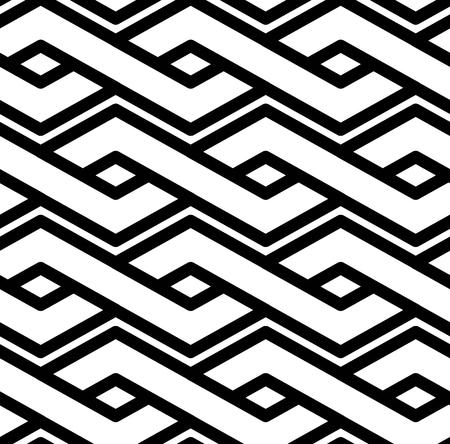 Black and white abstract textured geometric seamless pattern. Symmetric monochrome vector textile backdrop. Intertwine rhombs. Vektorové ilustrace