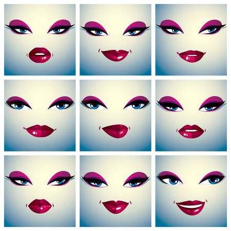 eyelid: Set of vector portraits of sexy women in different emotions. Parts of female faces with beautiful makeup, black brows, blue eyes and red lips.