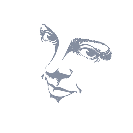 bemused: Monochrome silhouette of smiling attractive lady, face features. Hand-drawn vector illustration of woman visage, outline. Illustration