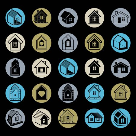 locality: Simple cottages collection, real estate and construction theme. Houses vector illustration with heart symbol
