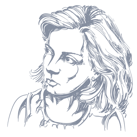 peaceful: Portrait of delicate good-looking peaceful woman, black and white vector drawing. Emotional expressions idea image. Illustration