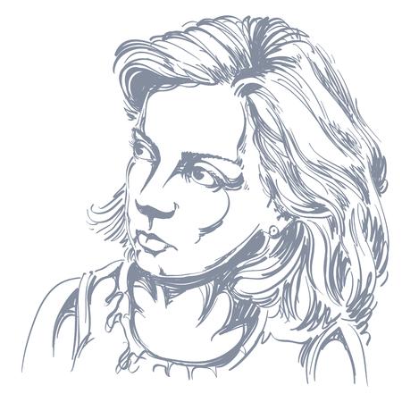 Portret van delicate goed uitziende rustige vrouw, zwart en wit vector tekening. Emotionele uitdrukkingen afbeelding idee. Stock Illustratie